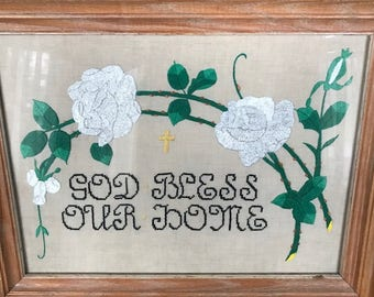 """Embroidery """"God Bless Our Home"""""""