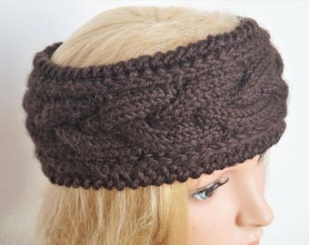 Alpaca Wool Ear Warmer,Brown Headband,Handmade Headband,Turban Ear Warmer Headband, Knitted Ear Warmer, Knitted Head Band, Winter Headband