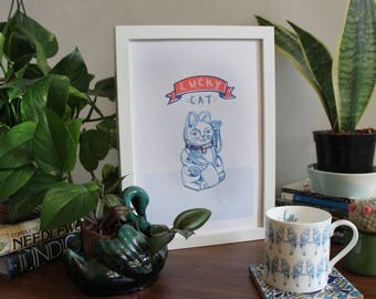 Lucky Cat A4 Riso Print