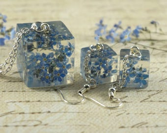 Jewelry set Forget me not Dainty necklace Flower earrings Blue flower jewelry Gift|For|Girlfriend Dainty jewelry Nature jewelry blue pendant