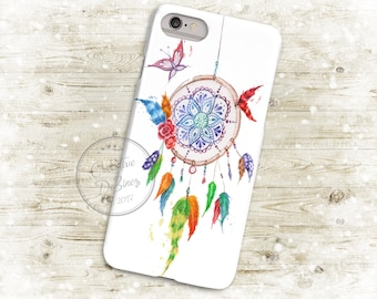 Boho Watercolor Dream Catcher, 3D Phone Case, Iphone 6 7 7+ Samsung Galaxy S5 Thin Hard Case, Personalized Mobile Full Wrap, Dreamcatcher