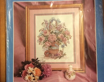 Candamar Designs: Basket Bouquet Counted Cross Stitch Kit