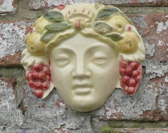 Green Woman, Female Spirit of the late Summer harvest. hand painted ceramic wall mask. vines and fruitful bounty
