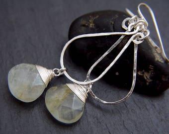 Aquamarine Earrings, Sterling Silver Earrings, Teardrop Hoop Earrings, Wire Wrapped Earrings, Wedding Earrings, Natural Aquamarine, Gemstone