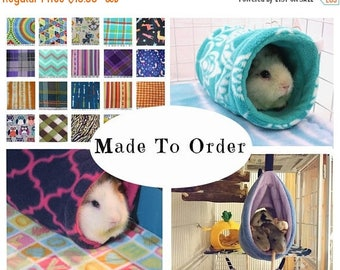 Guinea pig tunnel or rat hammock - you choose print - guinea pig accessories  - MADE TO ORDER