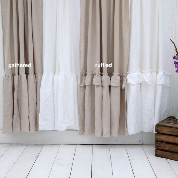 Vorhang, Leinen Duschvorhang, Schäbige Schicke Duschvorhang, Bad Vorhang,  Rüschen Vorhang, Badezimmereinrichtung, Bauernhausdekor
