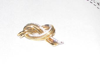 Vintage Knot Design Brooch/Pin, Gold Tone with Rhinestone Bow Design Brooch