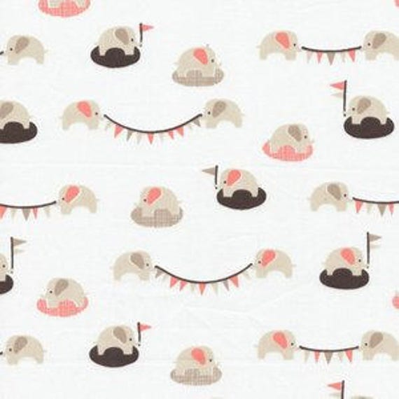 Organic Cloud 9 shell pink gray and chocolate ele fete elephant design cotton flannel fabric fat quarter