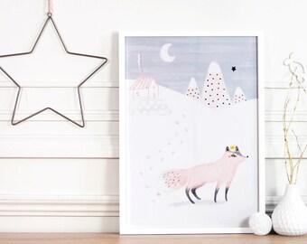 """Affiche - """"Eöl, le renard rose poudré des montagnes"""" -Décoration/Cadre mural/Maison/Chambre/Animaux/Pastel-Bleu/Enfants/Poster/Nurserie-Bébé"""