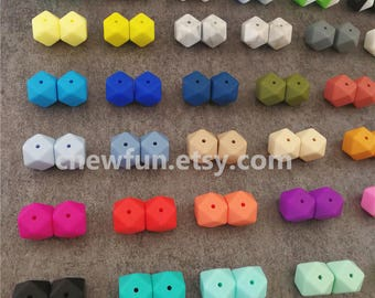 14mm Hexagon Silicone Beads, teething beads, teething necklace, geometric beads, modern beads, BPA Free, FDA grade
