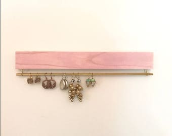 blush pink wood earring display / organizer