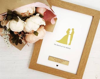 Gold Foil Personalised Bride And Groom Wedding Day Gift