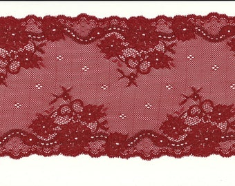 LACE of CALAIS Stretch red flowers Red Flowery lace trim 17 cm