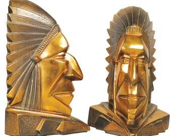 Art Deco period pair of cooper Native American Chief motif bookends circa 1930s