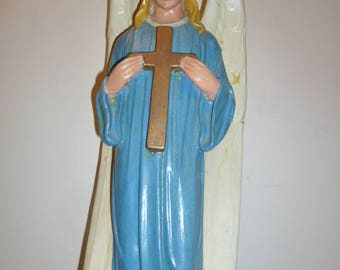 Religious art antique church presbytery wood plaster large sculpture lady blue angel with cross circa 1900-1920s