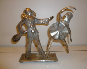 Art Deco silvered metal figural group sculpture of Pierrot and Ballerina circa 1920s