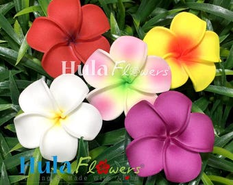 1.5 inches Plumeria Foam Flowers for Hula Accessories, FP-02-XS