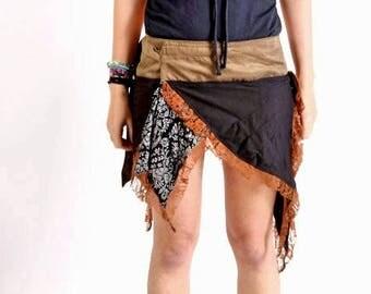 Pixie Boho Wrap Skirt,Festival Clothing,Bohemian Hippie,lace,Fairy skirt,Steam Punk Gypsy Pixie Skirt ,Mini Skirt.Christmas Gifts For Her