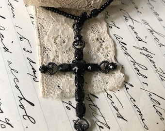 Black Metallic Drop Crucifix Choker Necklace