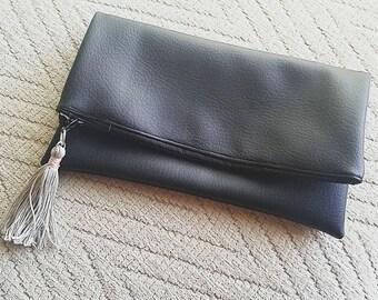 Simple Black Faux Leather Clutch