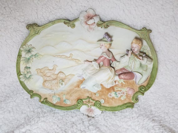 Romantic Victorian Couple Bisque Wall Plaque Hand-painted