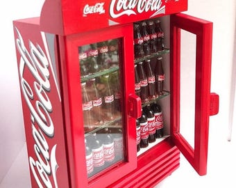 On Sale15% Miniature Coca Cola Wooden Cabinate,Miniature showcase,Miniature display,Wooden Cabinate,Dolls and Miniature,Miniatures,coke