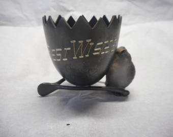 """Vintage Chick & Egg on Wishbone Silver plated Toothpick Holder, """"Best Wishes."""""""