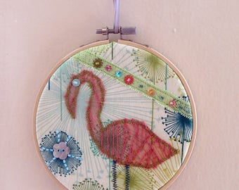 Picture-story pt coral Flamingo fabric