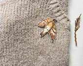"""little bird brooch """"brown swallow bird"""" /  bird brooch, pin brooch, bird pin, swallow brooch, orange swallow pin, Rough-tailed swallow"""
