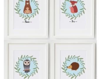 woodland nursery decor set of 4 prints, woodland nursery print, woodland nursery wall art, woodland nursery boys print, new baby print