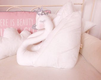 White Swan feathers and glitter Decoration baby room