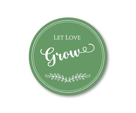 100 CT Wedding Let Love Grow Stickers. Seed Wedding Favor Stickers, Thank You Stickers, Premium Vinyl Party Favor Stickers