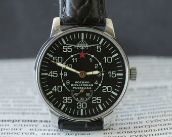 "Pobeda ""Air Force Military Reconnaissance"" Mechanical USSR Wrist Watch  5/Serviced"