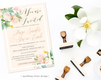 Printable 5x7 Floral Anthropologie Inspired Baby or Bridal Shower Neutrals Invitation - Customizable