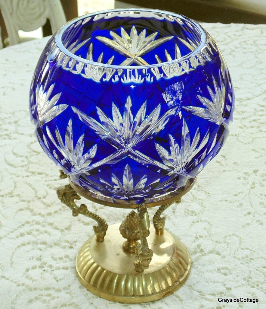 crystal glass stourbridge superb vase img blue glassware cut