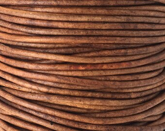 10 Yards 2mm Natural Light Brown Round Leather Cord, 1Yard LCR2-6005