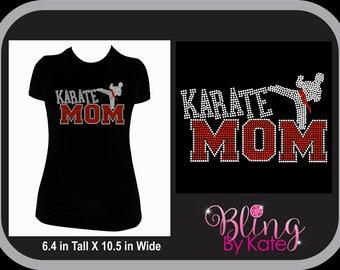 Karate Wear - Karate T-Shirt - Team Spirit  Rhinestone T Shirt - Karate Mom Shirt - Karate shirt xl - Gift For Mom