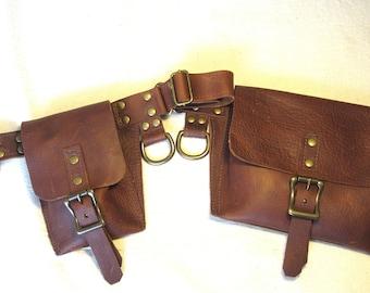 Leather urban utility belt, handmade belt, high quality hip belt, biker belt, urban gypsy, burning man, vintage style