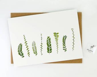 Printed leaf card, botanical greeting card