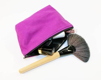 Leather Makeup Pouch, Leather Cosmetic Bag, Purple Leather Pouch, Leather Clutch, Small Leather Pouch!