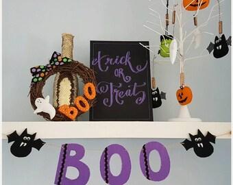 BOO Halloween Bat Felt Bunting