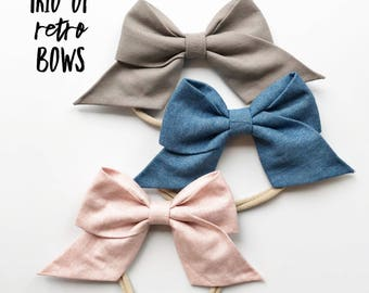 Trio Set : retro baby bows