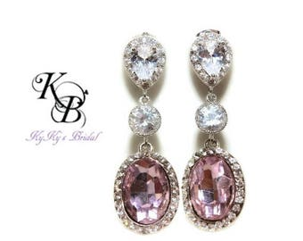 Pink Crystal Earrings, CZ Earrings, Bridal Jewelry, Wedding Jewelry, Pink Earrings, Pink Jewelry, Teardrop Earrings, Cubic Zirconia Earrings