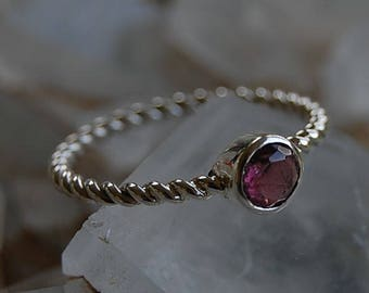 Pink Tourmaline silver Ring - Tourmaline Engagement Ring - silver Twisted wire Ring - October Birthstone - Tourmaline Ring - Wedding Ring
