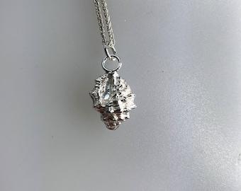 Silver Shell Pendant, Sand Cast, Florida Shell