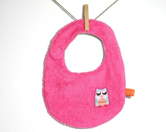 "Hot pink ""OWL"", reversible bib"