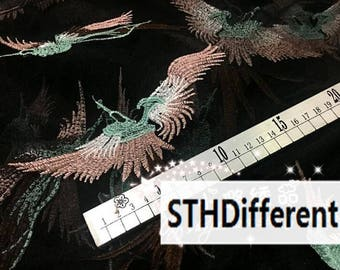 "2 Color Black and white mesh fabric, embroidery birds fabric, for wedding dress by 1m -(SXIL)- about 140cm/55""wide"
