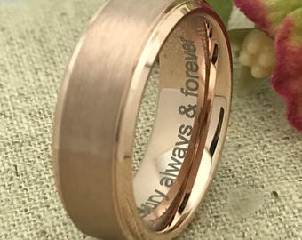 8mm Personalized Rose Gold Plated Tungsten Wedding Band, Custom Engraved Promise Ring, Comfort Fit Couples Ring for Him and Her, Purity Ring
