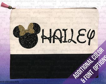 Minnie Mouse Inspired Name Personalized Two Tone Makeup/Cosmetic Bag Pencil Case Black Canvas Trim, Glitter Writing