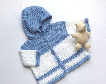 Hooded baby coat - 0 to 4 months - Blue white infant cardigan - Baby shower gift - Baby hoodie